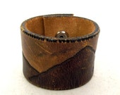 SALE Deer and Mountains Upcyled leather Cuff - bracelet - cowboy country fashion