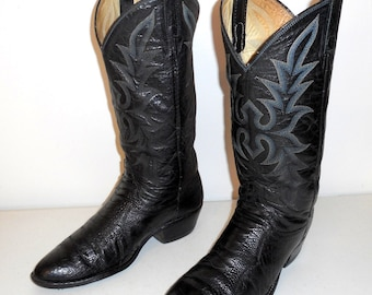 Mens 8 D Ostrich Leg Dan Post Cowboy Boots Black Leather Vintage Western Country Exotic