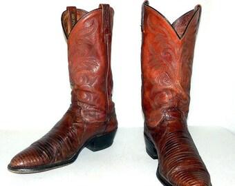 Brown Lizard Dan Post brand Cowboy Boots mens size 10 D / womens 11.5
