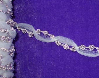 Very Pretty Delicate Lavender Rose Vine with Tulle Trim 2 yds by 3/4""