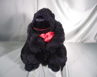 STUFFED GORILLA with Rose, 12 inch tall stuffed Gorilla with life like face and eyes, Gorilla with a flower, 12 inch tall Gorilla Stuffed