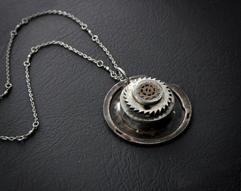 Jewelry Necklace Steampunk Vintage Machine Gears + Typewriter Ribbon Holder + Long chain