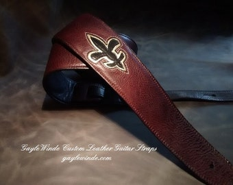 """Burgundy Leather Guitar Strap w/Black and Gold Leather Fleur-de-Lis / Padded / Leather Lined / Ergonomic / 3"""" Wide"""