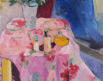 Daisy - an original impressionistic oil painting by SC artist Linda Hunt - impressionism - still life - original oil painting - interior NEW