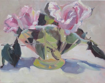roses  abstract impressionistic oil painting - pink rose still life painting - green hobnail vase -11 x 14 - pink floral - roses and leaves