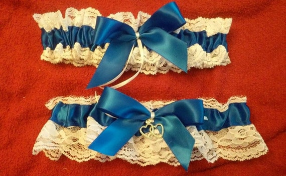 Royal Blue Garter SET   Wedding Bridal Garter Bride's Garter Belt Soft and Comfortable