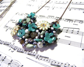 Turquoise Floral Bib Statement Necklace Turquoise Jewelry Flower Jewelry Statement Jewelry Boho Tribal Hippie Gift