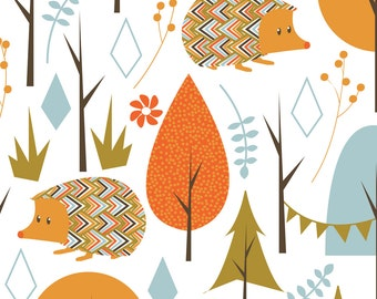 Mod Woodland Hedgehog Fabric - Hedgehog Party By Papercanoedesign - Mod Woodland Hedgehog Cotton Fabric By The Yard With Spoonflower