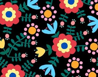 Retro Folk Floral Fabric - Folk Floral (Black) By Lydia_Meiying - Colorful Folk Flowers Cotton Fabric By The Yard With Spoonflower