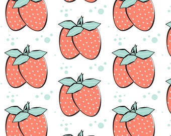 Summer Strawberry Fabric - Strawberry Mojito By Pixabo - Summer Strawberry Cotton Fabric By The Yard With Spoonflower