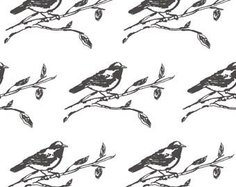 Minimalist Robin Fabric - Bird Drawing By Kendrashedenhelm - Black + White Woodland Nursery Bird Cotton Fabric By The Yard With Spoonflower