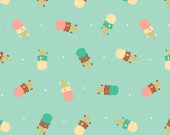 Double Scoop Ice Cream Fabric - Dripping Cones By Klingercreative - Summer Double Scoop Ice Cream Cotton Fabric By The Yard With Spoonflower