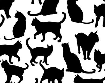 Black Cats Fabric - Black Cats By Juliabadeeva - Mod Black and White Felines Animal Pets Cotton Fabric By The Yard With Spoonflower