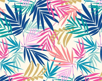 Palm Leaf Fabric - Shadow Palm 2 By Laura May Designs - Tropical Beach Resort Palm Leaf Cotton Fabric By The Yard With Spoonflower