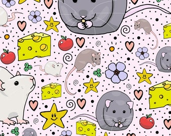 Mouse Rat Fabric - Fancy Rats By Nemki - Rat Mouse Cheese Kawaii Pet Animal Cotton Fabric By The Yard With Spoonflower