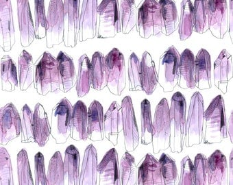 Purple Amethyst Fabric - Amethyst By Crumpetsandcrabsticks - Watercolor Amethyst Crystals Cotton Fabric By The Yard With Spoonflower