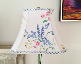 "Wild Flower Lamp Shade, Rectangle Bell Lampshade, Blue Lampshade, Vintage Embroidery and Trim, 7""top x 12"" Bottom by 9.5"" high, Cottage Look"