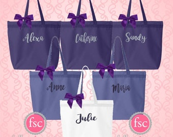 NEW! Personalized gift bags , monogrammed tote bags , bridesmaid gift bags , cheap tote bags , affordable bridesmaid gifts
