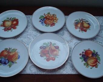 Lot #2 Set of 6 Fruit Plates, Restaurant Decor, Farmhouse Decor, Country Decor, Decorative Plates, Bayreuth Germany, 1960s