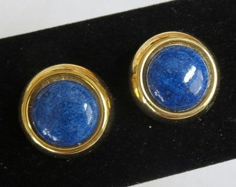 Vintage Button Earrings Blue Speckled Lucite Cabochon
