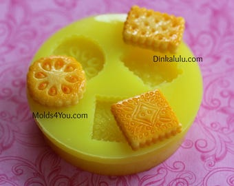 Cookie Mold Dollhouse Food Tiny Food Kawaii Cabochon Mold Decoden Cute Food Biscuit Resin Cookies Mold Polymer Clay Mold