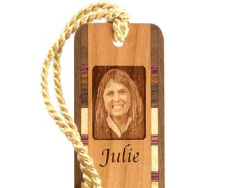 Custom Keepsake Wood Bookmark with Selfie Face Photo Laser Engraved