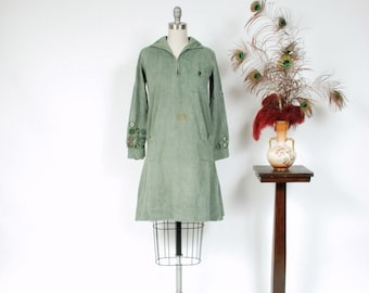 2 DAY SALE - Vintage 1920s Dress - Rare 20s Girl Scouts Uniform of Green Cotton Twill with Many Merit Badges