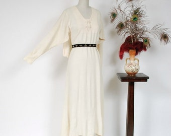 2 DAY SALE - Vintage 1930s Dress - Incredible Ivory Caped Rayon Crepe 30s Wedding Dress with Dolman Sleeves and Scalloped Cape