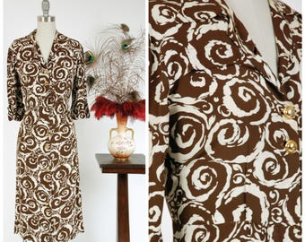 Vintage 1940s Dress - Fantastic Chocolate Vanilla Swirl Print Ivory and Brown Rayon 40s Day Dress with Button Front