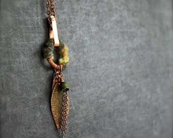 ON SALE Green Leaf Copper Pendant Necklace Fiber Leaves Olive Patina Long Metalwork Wire Wrap Forest  Woodland Garden Nature Boho Jewellery