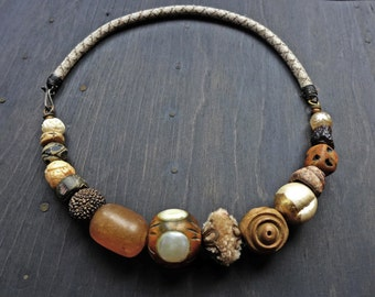 """Chunky choker-handmade artisan necklace- """"Querent""""- Rustic tribal assemblage jewelry by fancifuldevices."""
