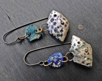 """Artisan earrings with polymer clay art beads and ancient Roman glass-""""Addendum"""""""