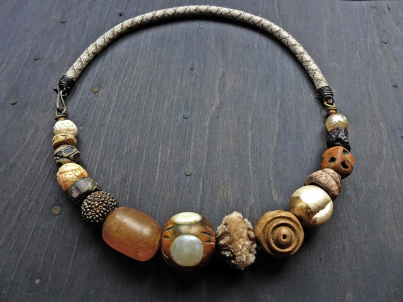 Querent. Handmade choker with woven cording. Thick chunky mixed media artisan necklace