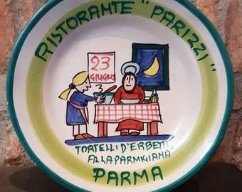 Vintage Italian Ceramic Solimene Vietri 1989 Buon Ricordo Restaurant Plate - PARMA