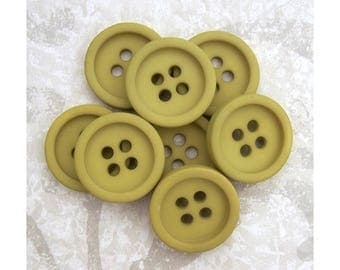 Chartreuse Green Buttons, 28mm 1-1/8 inch - Matte Olive Green Sewing Buttons - 8 VTG NOS Boxy Green Retro Mod Sew Through Buttons PL486 bb