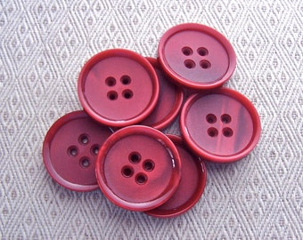 Beet Red Buttons, 27mm 1-1/8 inch - Dark Red Marbled Retro Mod Sewing Buttons - 7 VTG NOS Satin Red Sew Through Buttons PL604