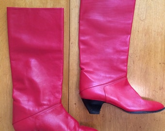 Vintage 80s Red Hot Leather Slouchy Pirate Rocker Under the Knee Boots