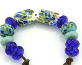 Mixed Set BluesHandmade Glass Lampwork Beads (12 Count) by Pink Beach Studios (2175)