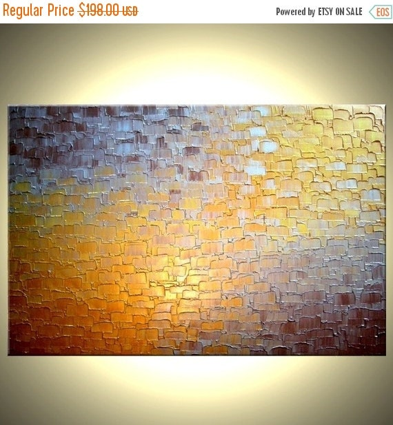 Original Abstract Painting - Gold Metallic, Palette Knife Abstract Bronze Modern Textured Art by Lafferty - 24 x 36 - 22% Off Sale