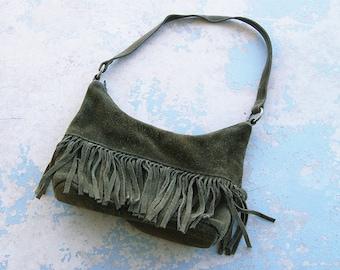 vintage 80s Fringe Purse - 1980s Boho Olive Green Suede Fringe Leather Shouder Bag