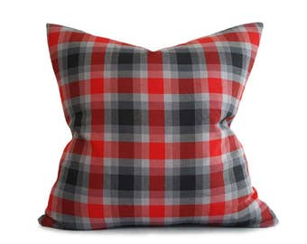 Red Grey Throw Pillows,  Plaid Pillow Covers, Red Black Plaid Pillow, Red Gray Black Pillow, Mens Decorative Pillows, Lodge Decor, 18x18