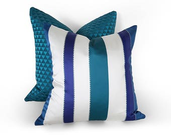 Teal Blue Pillows, Blue Striped Pillow, Blue White Pillow Covers, Striped Teal Pillow, Beach House Pillows, Lumbar 12x18, 18, 20, 22, 24, 26