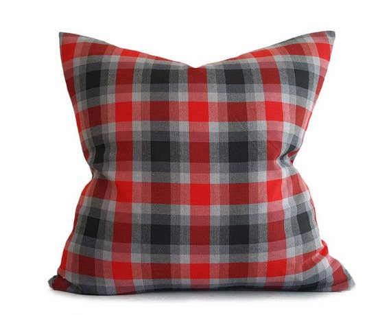Black Plaid Throw Pillows : Red Grey Throw Pillows Plaid Pillow Covers Red Black Plaid