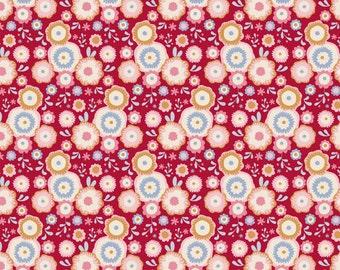 Tilda Fabric, Tilda Candyflower Red Fat Quarter, Candy Bloom Collection, Tilda Cotton Fabric 481200, Fat Quarter, 50 cm x 55 cm