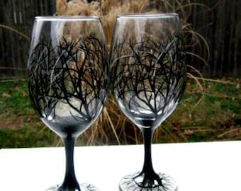 Wine Glasses, Hand Painted, Black Tree, Tree branches,  20 oz Jumbo Wine Glass