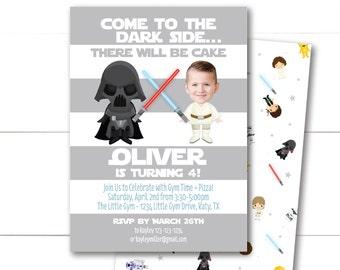Birthday Photo Invitations - Star Wars - Darth Vader and Luke Skywalker