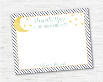 Instant Download - Editable - Personalized - Baby Shower Thank You Cards - To the Moon and Back