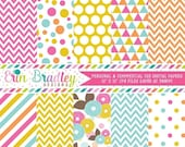 70% OFF SALE Pink Blue Orange & Yellow Printable Digital Paper Pack Polka Dots Stripes Triangles Flowers and Chevron Instant Download