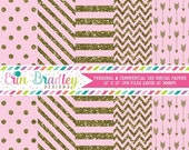 60% OFF SALE Digital Paper Pack Gold Glitter and Light Pink Commercial Use Digital Scrapbook Papers Polka Dots Stripes Chevron and Arrows