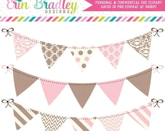 50% OFF SALE Pink and Brown Bunting Banner Flag Clipart Clip Art Set Personal & Commercial Use